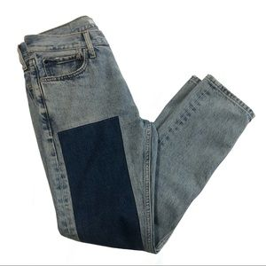 "Calvin Klein ""slim patched west"" light wash jeans"